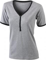 Dámske tričko Henley-T kontrast